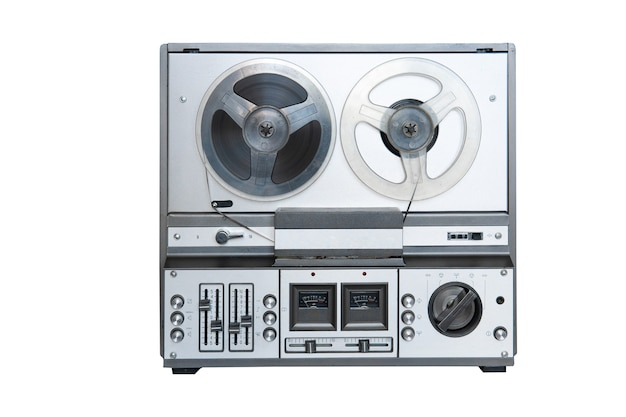 Analog stereo tape deck recorder player with reels isolated on white background.