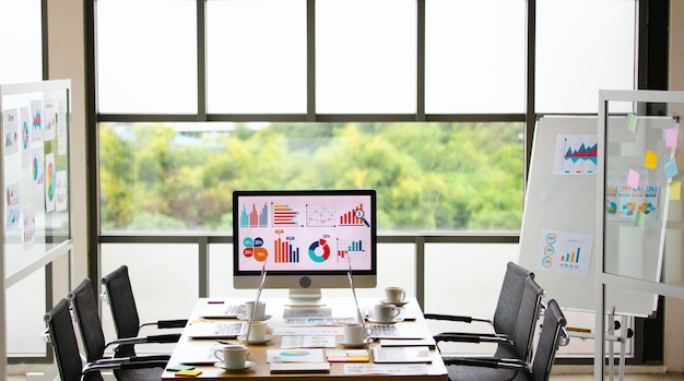 Analysis sales target growth graph chart investment report data on big computer screen monitor placed in middle of meeting table in front glass building windows with garden view in blurred background.