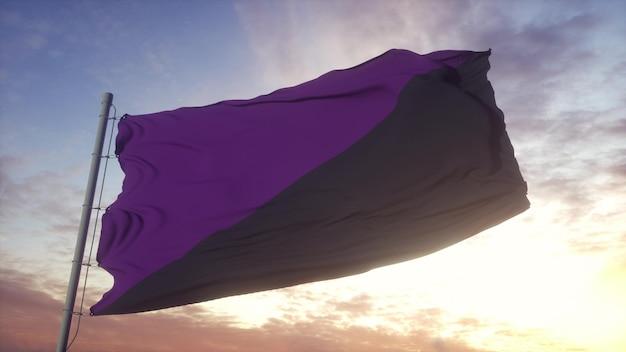 Флаг анарча феминизм развевается на фоне ветра, неба и солнца. 3d-рендеринг.