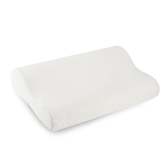Anatomical pillow made of foam material with memory effect isolate on a white background