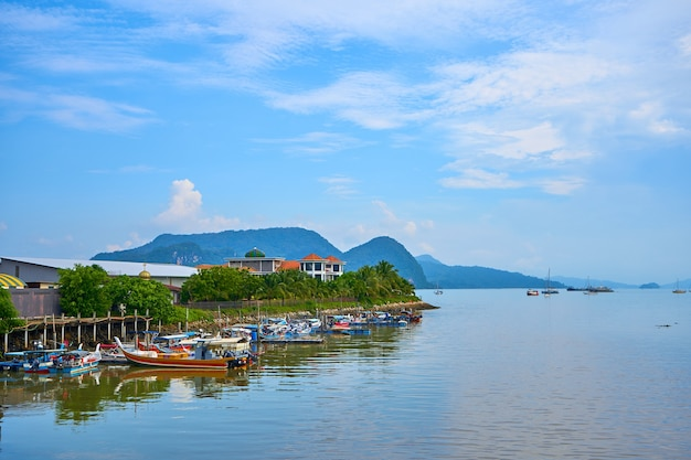 Anchorage for small fishing boats on the island. langkawi, malaysia - 07.18.2020