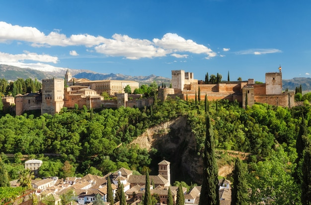 Ancient arabic fortress alhambra in, granada, spain, european travel landmark.