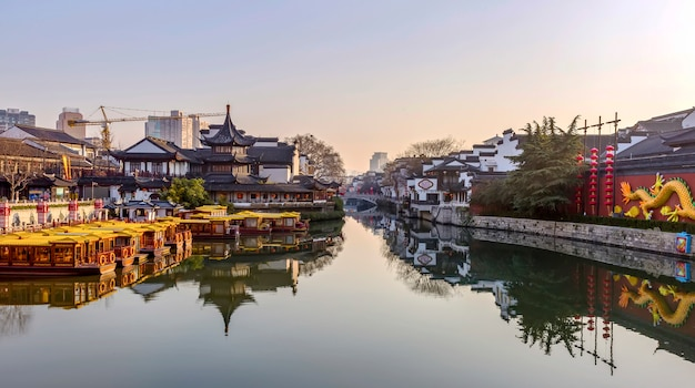 Ancient architectural landscape of qinhuai river in nanjing
