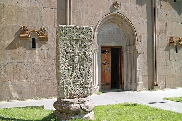 Ancient armenian crossstone called khachkar in katoghike church tsakhkadzor town armenia
