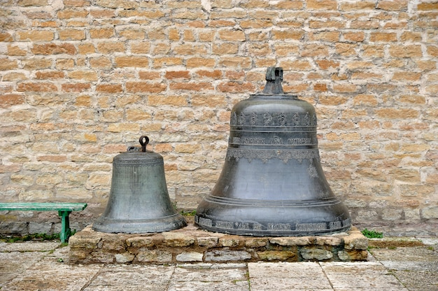 Ancient bells in the courtyard of the narva fortress