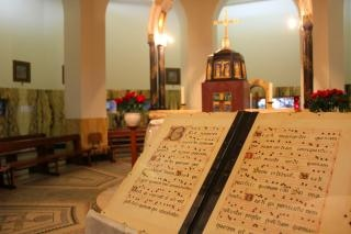 Ancient bible inside the chapel of beati