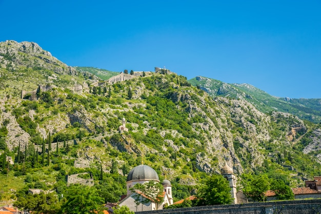 Ancient boko-kotor fortress is located on the slope of the mountain.
