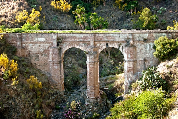 An ancient bridge over a deep chasm near the city of malaga in southern spain