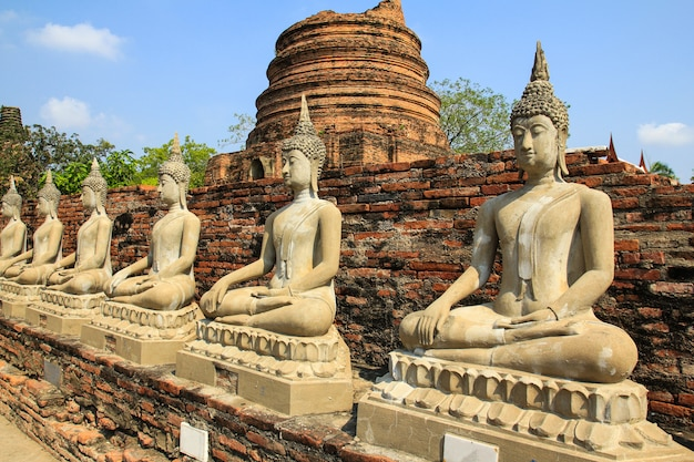Ancient buddha statue at wat yai chaimongkol in ayutthaya ,thailand.