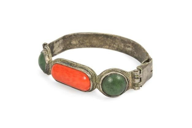 Древний буддийский браслет из серебра и полудрагоценных камней
