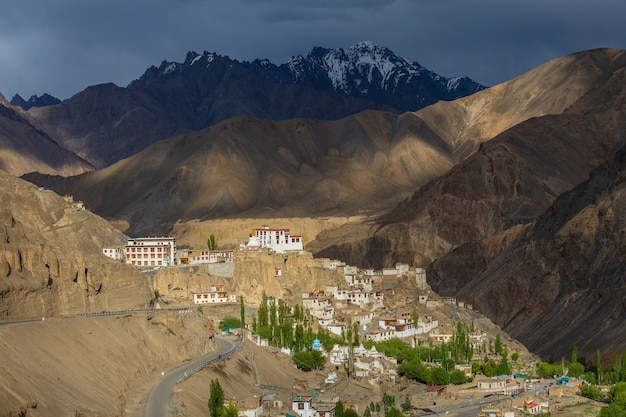 Ancient buddhist monastery lamayuru among the yellow rocks of the gorge, ladakh, himalayas, north india