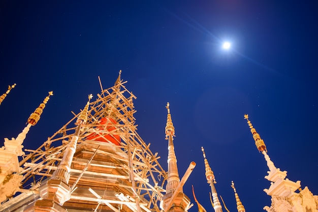 Ancient buddhist pagoda in the moonlight