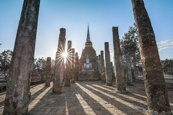 Ancient buddhist temple ruins in Sukhothai historical park