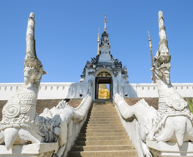 Ancient buddhist temple of wat pongsanuk in lampang,thailand. the mix of lanna and burmese architectural and decorative styles