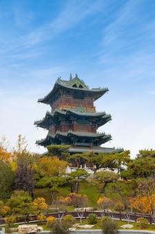 Ancient building loft in taiyuan yingze park, shanxi province, china