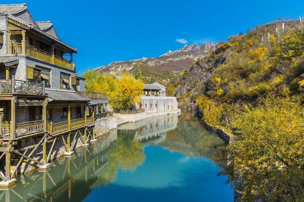 Ancient buildings in the town, there are lakes and stone bridges, china