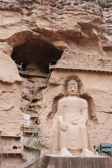 Ancient chinese buddha statue at bingling cave temple in lanzhou gansu china
