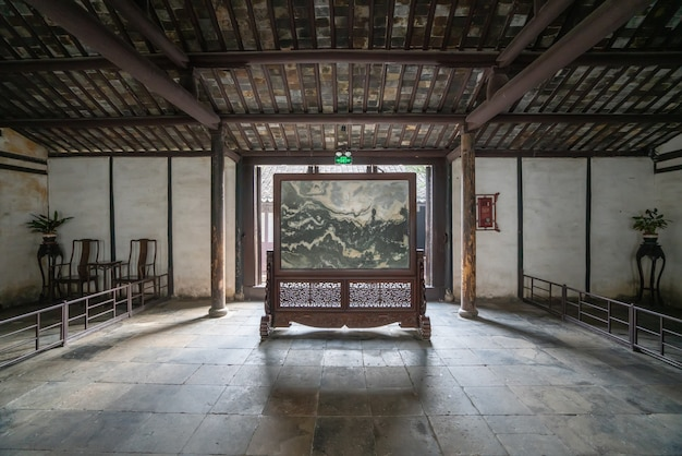Ancient chinese indoor hall shen hall is located in nanshi street, east of the fuan bridge in zhouzhuang, suzhou.