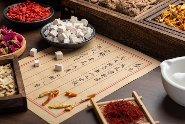 Ancient chinese medicine paper and herbs on the table