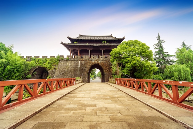Ancient city bridge with a gate