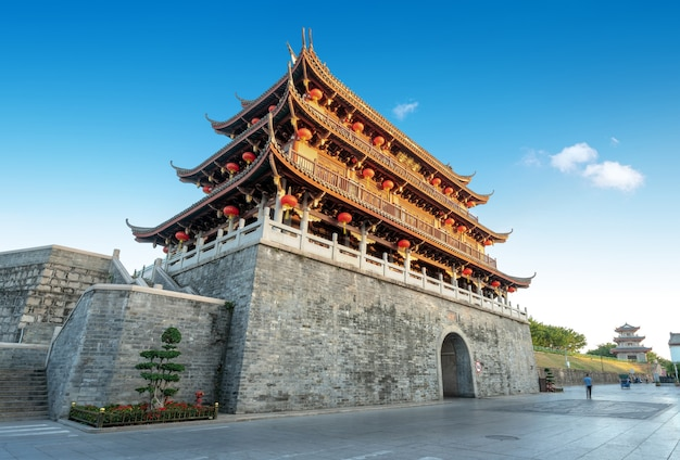 Ancient city and city wall ruins in chaozhou, guangdong province, china.the plaque up and down both are the name of this building called