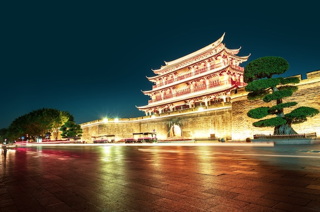 Ancient city and city wall ruins in chaozhou, guangdong province, china.