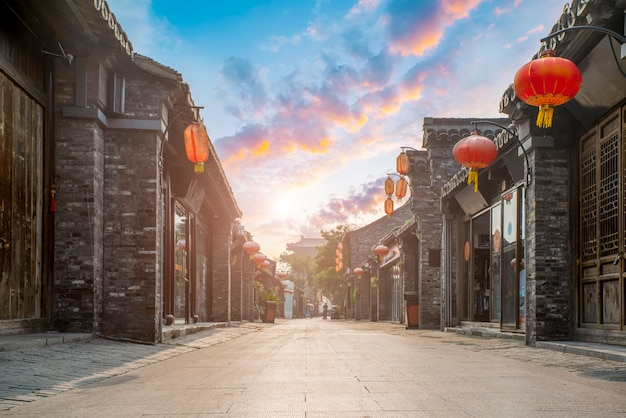 Ancient city street of yangzhou, china