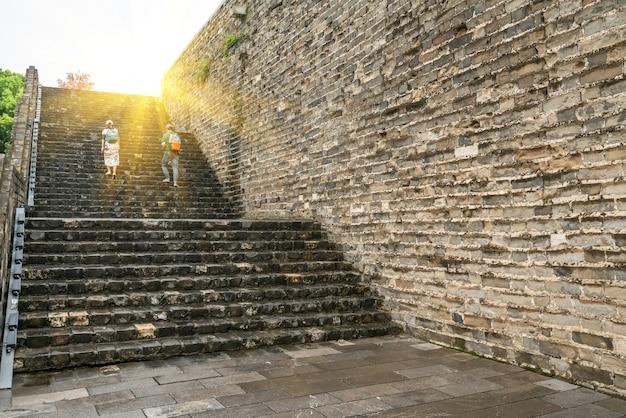 중국 난징의 고대 성벽 프리미엄 사진