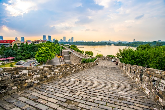 Ancient city walls and temples in nanjing, china