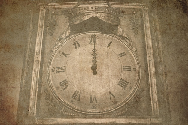 Ancient clock - old postcard style