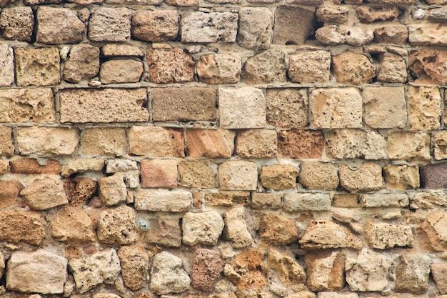 고 대 붕괴 벽돌 벽을 배경으로 가까이
