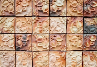Ancient decorative tiles in the east, Thailand