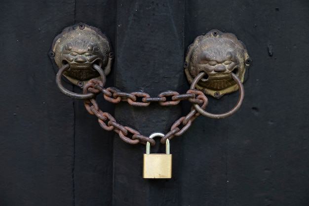 Ancient door with a lion head knocker are locked by an old chain and padlock.