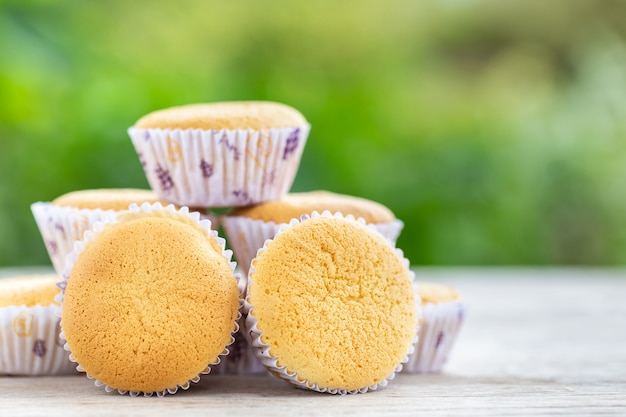 Ancient egg cakes (kanom khai in thai name) in white paper cup