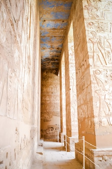 Ancient egyptian tomb building with hieroglyphs