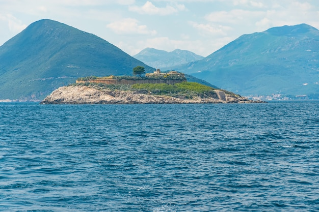 Ancient fortress is located on the island of mamula bokakotor bay montenegro