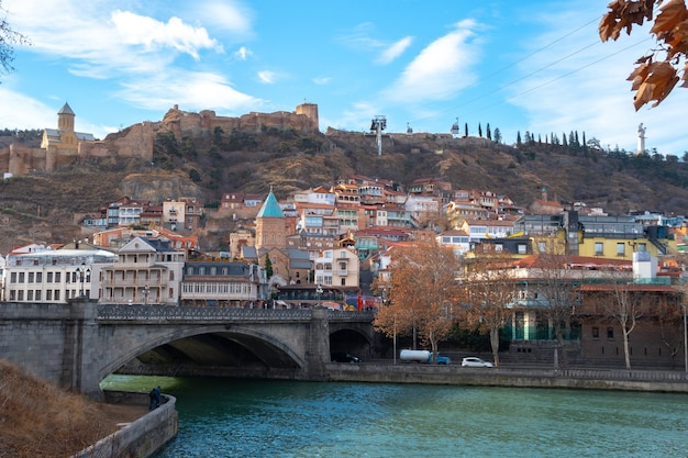 Ancient fortress narikala and old town tbilisi, capital of georgia. travel