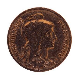 白の上に分離された古代フランスのコイン10セント
