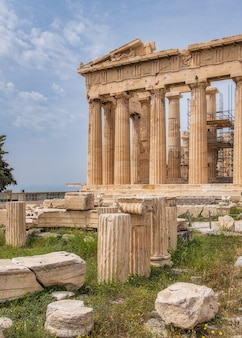 Ancient greek ruins at the acropolis in athens greece