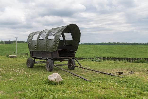 緑の野原に日よけのある古代の馬車