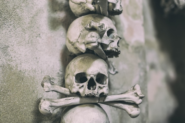 Ancient human skull and bone decoration in sedlec, czech republic, kutna hora