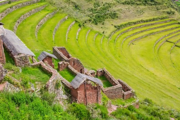 Ancient inca circular terraces in sacred urubamba valley of incas, peru