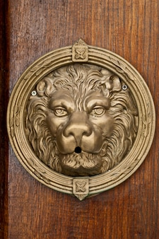 Ancient italian bronze lion on wooden brown background