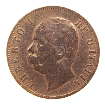 分離された古代イタリアのコイン