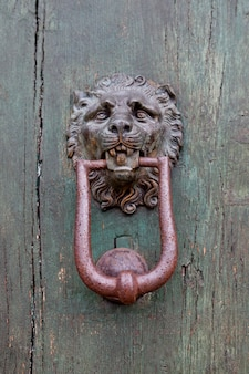 Ancient italian lion shaped door knocker