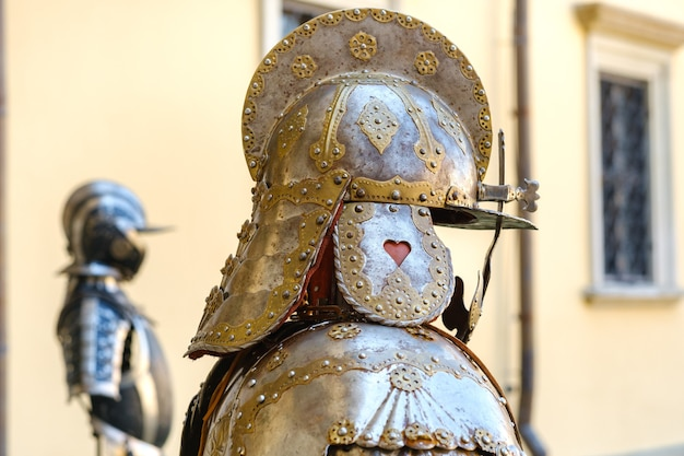 An ancient knight's helmet with armor.a medieval concept