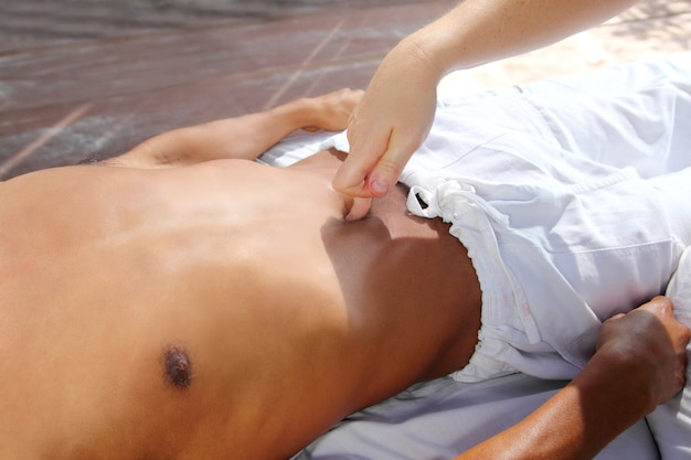 Ancient mayan massage therapy navel pressure