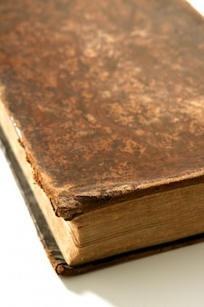 Ancient old aged brown book macro