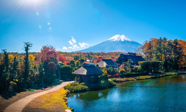The ancient oshino hakkai village with mt. fuji in autumn season at japan.