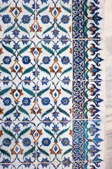 Ancient ottoman handmade turkish tiles with floral patterns
